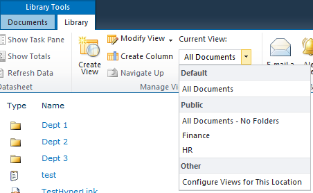 The dropdown list of 'view' options in SharePoint 2010