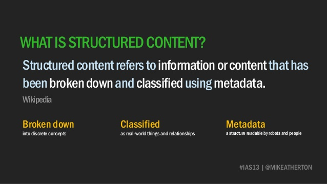 Definition of structured content - slide from EuroIA workshop