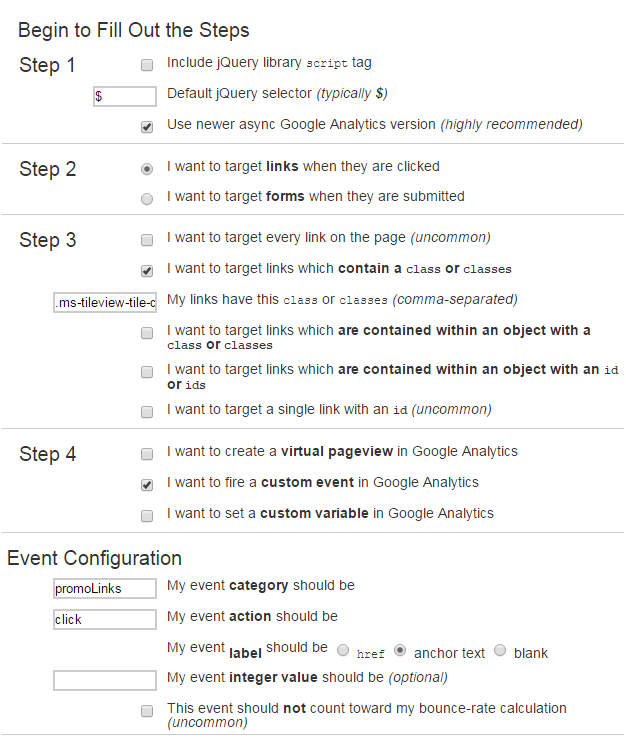 Generating google analytics event code